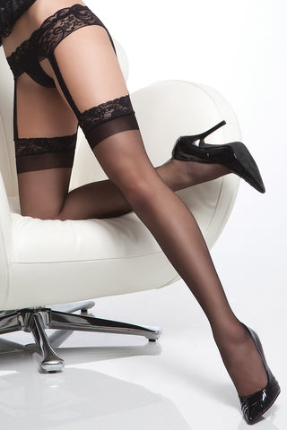 Sheer Thigh High with Lace Garter Belt Black