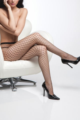 Diamond Net Pantyhose Black