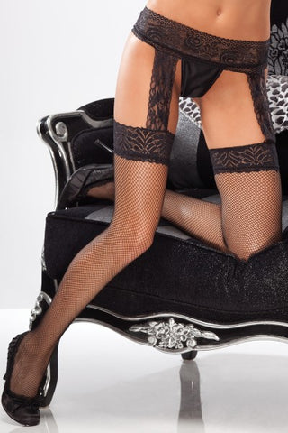 Fishnet Thigh High Stockings with Lace Garter Belt