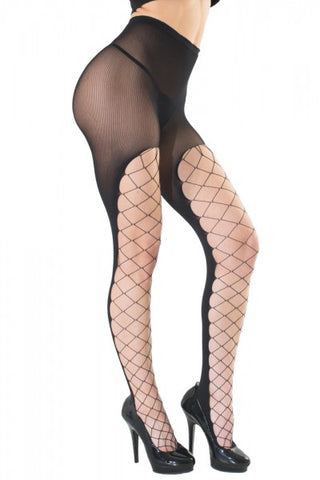 Diamond Net Front and Opaque Back Pantyhose