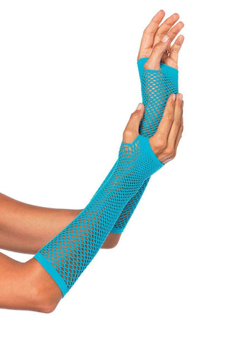 Triangle Net Fingerless Gloves Blue