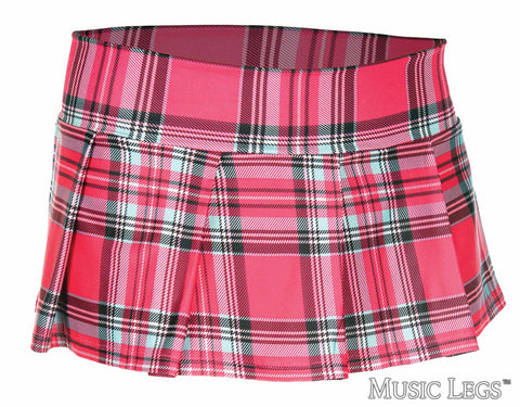 Plaid Mini Skirt - Hot Pink