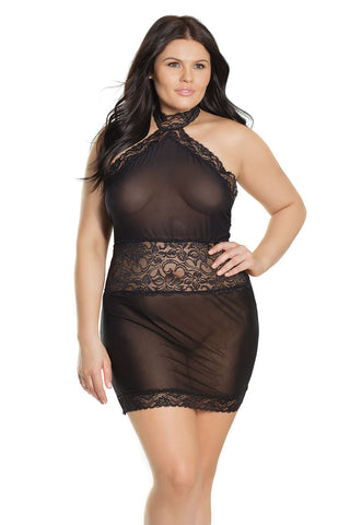 Plus Size Halter Dress Black