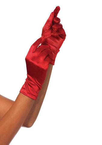 Wrist Length Satin Gloves Red