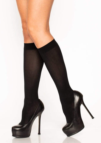 Nylon Opaque Knee Highs Black