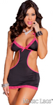 Halter Tie Neck Dress Black/Pink