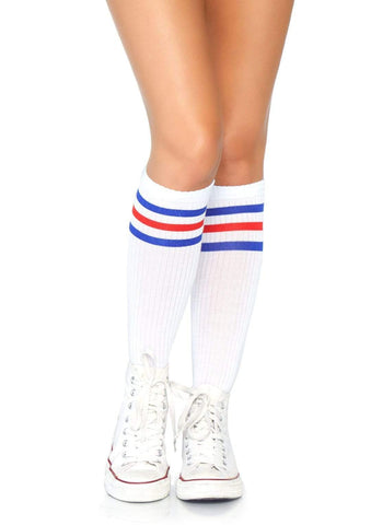Athletic Striped Knee Highs White