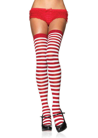 Striped Nylon Thigh Highs White/Red