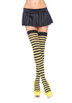 Striped Nylon Thigh Highs Black/Yellow