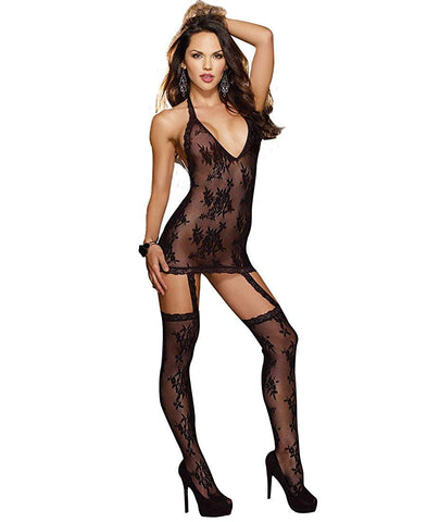 Floral Stretch Lace Halter with Attached Garters Black