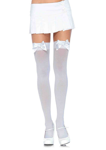 Nylon Thigh Highs with Bow White
