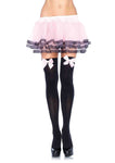 Nylon Thigh Highs with Bow Black/Pink