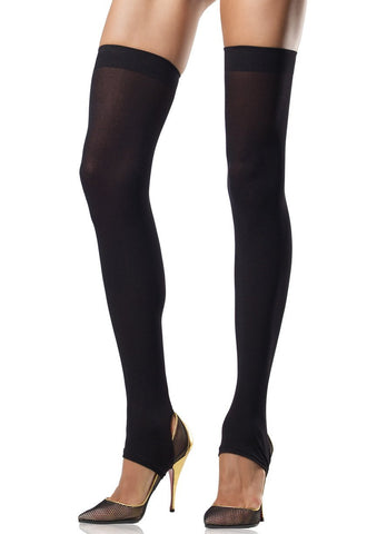 Opaque Stirrup Thigh Highs Black