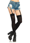 Attached Clips Garter Thigh Highs Black