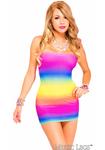 Strapless Opaque Rainbow Mini Dress