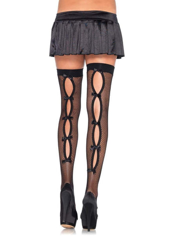 Bow Backseam Thigh Highs Black