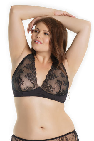 Plus Size Lace Bralette Black