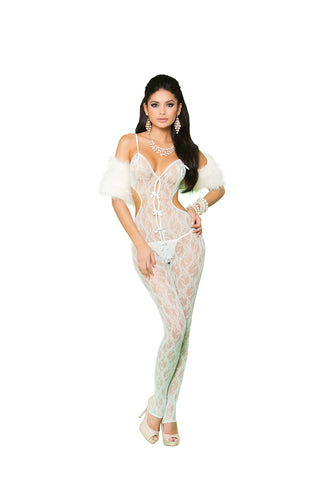 Lace Bodystocking with Open Crotch Mint Green