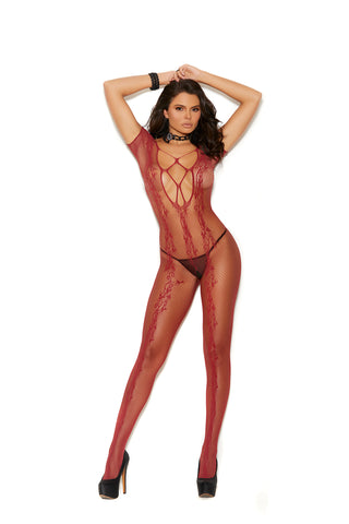 Crochet Lace Bodystocking Red