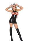 Wet Look Hooded Mini Dress
