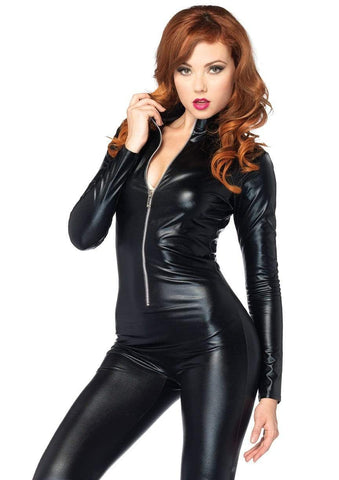 Wet Look Cat Suit Black