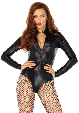 Wet Look Front Zipper Bodysuit Black