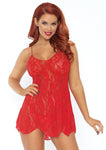 Rose Lace Flair Chemise Red