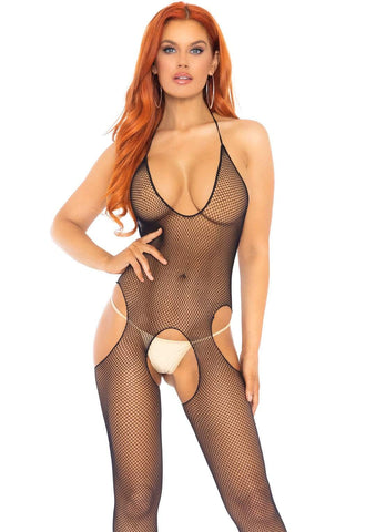 Fishnet Cut Out Bodystocking Black