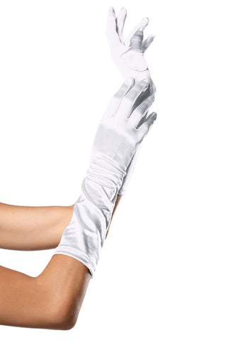 Elbow Length Satin Gloves White