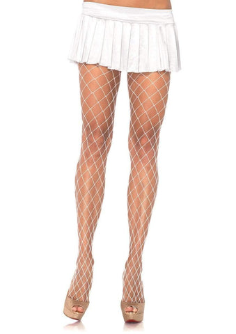Spandex Diamond Net Tights White