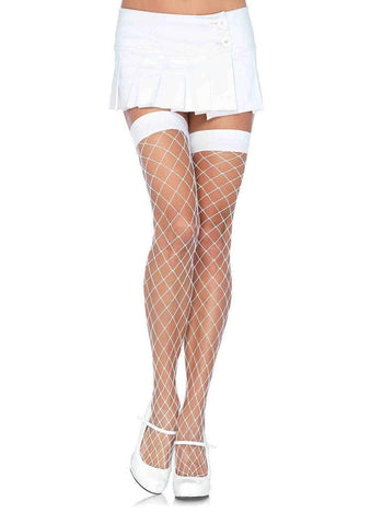 Fence Net Thigh Highs White