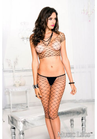 Big Diamond Net Cami and Capri Set Black