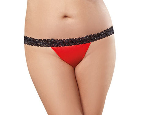 Stretch Lace Panty with Open Back Heart - Red