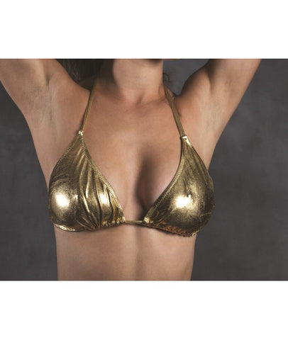 Slide-n-Tie Metallic Bikini Top - Gold