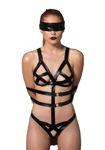 3PC Bondage Teddy Set