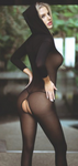 Hooded Opaque Bodystocking Black - Model Express Vancouver