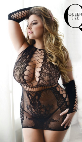 Plus Size Fishnet Dress with Gloves Black