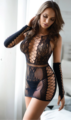 Fishnet Dress with Gloves Black