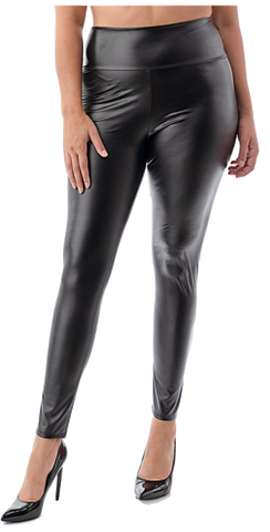 Plus Size Wetlook Pants Black