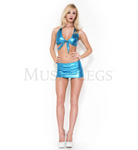 Metallic Tie Front Top and Mini Skirt Blue