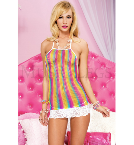 Halter Neck Fishnet Mini Dress Rainbow