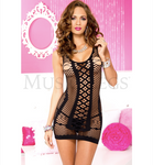 Strings and Diamond Net Mini Dress Black