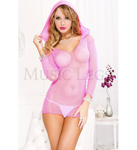Hooded Fishnet Mini Pink