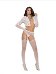 Crochet Suspender Pantyhose White - Model Express Vancouver