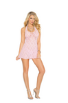 Lace Halter Mini Dress Pink - Model Express Vancouver