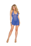 Plus Size Lace Halter Mini Dress Blue