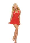 Lace Halter Mini Dress Red