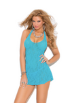 Lace Halter Mini Dress Turquoise