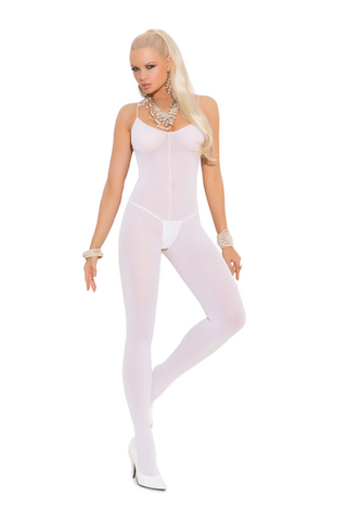Opaque Bodystocking with Open Crotch White