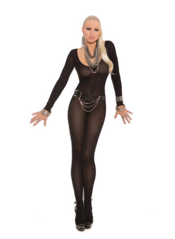 Opaque Long Sleeve Body Stocking Black